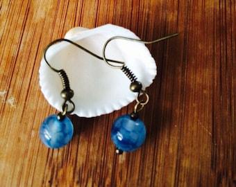 Aqua Blue Agate Earrings.