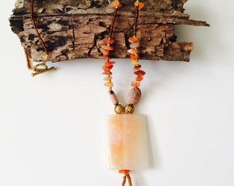 Crab Fire Agate Necklace.
