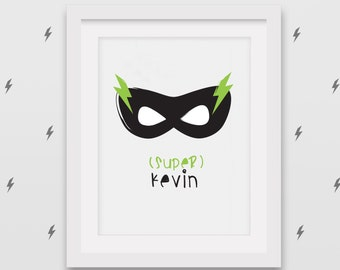 Custom name superhero artwork - Printable A4 artwork - Lightning bolts superhero mask - Kid birthday gift idea
