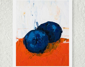 Blueberry Art Print Kitchen Wall Decor Still Life Painting Autumn Fruit Blue
