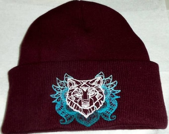 Wolf Beanie Hat Embroidered Totem Wiccan Pagan,Spirit Guide,Wiccan Clothing,Pagan Clothing