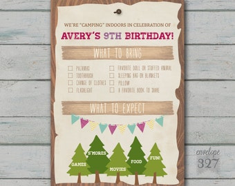 """Camping or """"Glamping"""" Birthday Invitation - Customizeable Backside ONLY"""