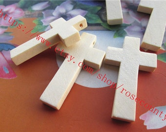 Wholesale 100pcs 42x25x4.6mm original wood Cross charms findings--unfinished--hole 2.5mm