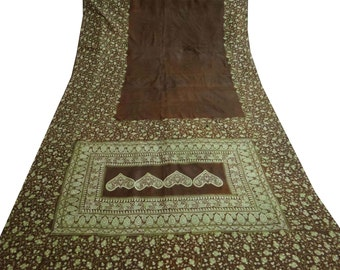 Vintage  Pure Silk Saree  Floral Printed Pure Sari Fabric Brown Drape Decor 5 Yard PS20941