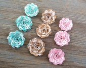9 Burlap Ivory Lace Mini Flower Trio - Handmade Rustic Posey Rose Roses Aqua Pink Natural Wedding Decoration Bridal Decor Card Making