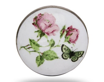 Ceramic Flower with Butterfly and Golden Back Knob, Pretty Vintage Nature Door Knob in White, Pink and Green, Decorative Furniture Handle