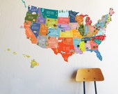U S of A interactive map  - WALL DECAL