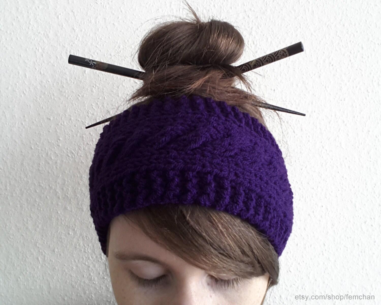 bandeau de cheveux violet fonc bandeau tricot serre t te. Black Bedroom Furniture Sets. Home Design Ideas