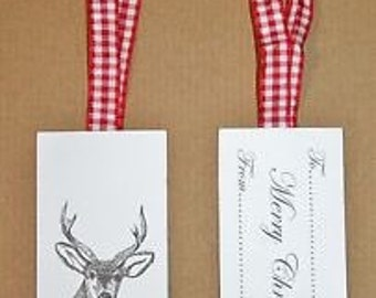 Stag/Merry Christmas Wrap Gift Tags White/Grey/Red 6pcs