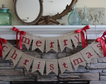 Merry Christmas Burlap Banner - Christmas Banner - Christmas Decor - Christmas Garland-Holiday decor-Christmas Photo Prop- Christmas Bunting