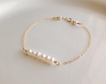 Gold filled freshwater pearl bracelet