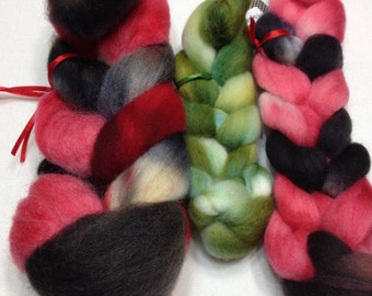 Hand Dyed, Roving, Sampler, Merino, Corriedale, 15010