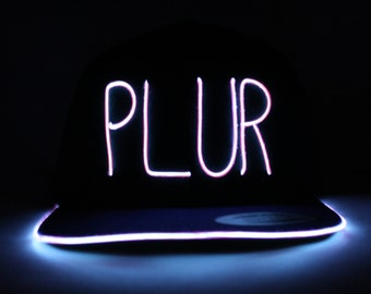 Light Up PLUR Hat made with El Wire in all colors; blue, green, orange, yellow, pink, purple, white