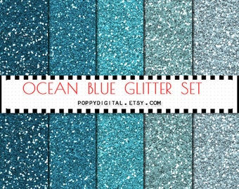 Blue Glitter Digital Paper Background {Texture Pattern Overlay} for scrapbooking - Instant Download
