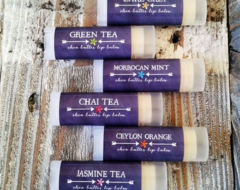 FREE SHIPPING Set of 6 - Tea Lip Balms//Shea Butter Lip Balm // Natural Lip Balm // Natural Lip Butter //  Stocking Stuffer