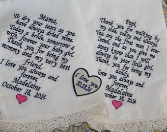 Mother of the groom handkerchief and mother of the bride wedding gift with a grooms tie wedding patches