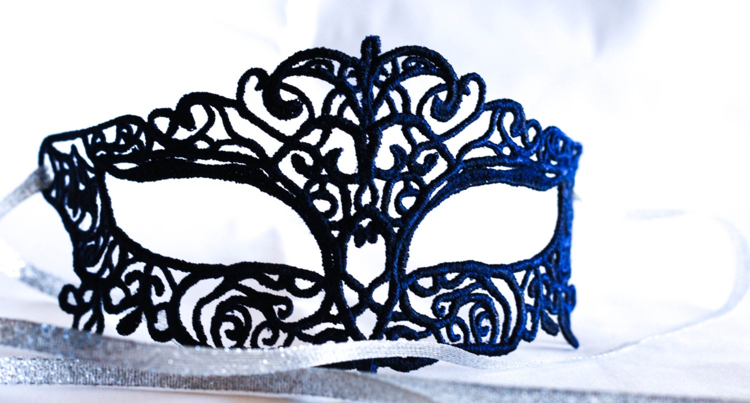 Midnight Blue Lace Masquerade Mask Ball