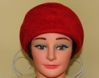 NEVER WORN! 1960s Persimmon Orange Beaver Mod Hat