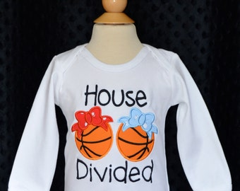 Personalized House Divided Basketball Team Applique Shirt or Onesie Choose Your Teams & Colors