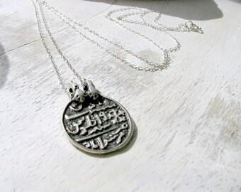 Silver Coin Necklace,Silver Tugra Pendant Necklace,925 Sterling Silver Necklace,Antique Silver Turkish Coin,Boho Jewelry,Boho Necklace,Gift