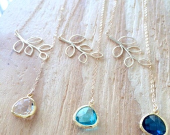 Lariat Necklaces,Aqua,Sapphire,Crystal Lariat,Personalized Birthstone Jewelry,14k Gold filled,Branch Lariat,Bridesmaid Gifts,Branch Necklace