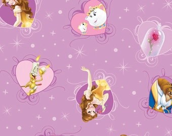 IN STOCK, Per Yard, Disney's Belle with Film Hearts Fabric