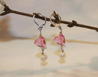 Sterling silver lever back Swarkovski heart and pearl earring