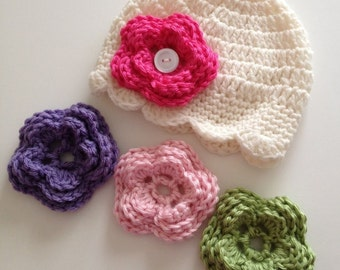 CROCHET PATTERN - Baby Hat Crochet Pattern With Flower Sizes Newborn to 10 Yrs Old - Immediate Download