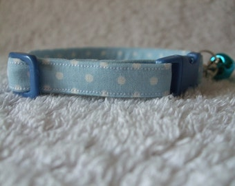 Baby Blue Polka Dot Cat Collar with breakaway buckle and bell