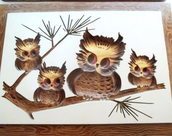 Ceramic Owl Art Wall Plaques By Modern Art Co., Inc. Made In USA. Set Of 2