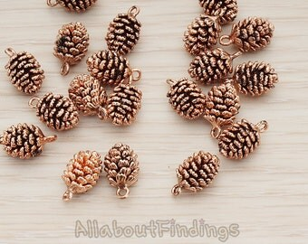 PDT1206-RG // Antique Rose Gold Plated  Pine Tree Cone Pendant, 2 Pc