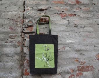 Tote Bag, Canvas Bag,Gray Green Tote Bag Hand Painted, Canvas Tote Bag, Cotton Bag, Casual Bag