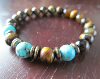 Tigereye and Turquoise Bracelet for Men or Women, Gemstone Bracelet, Mens Beaded Bracelet, Mens Jewelry, Yoga Bracelet, Yoga Jewelry, Mala