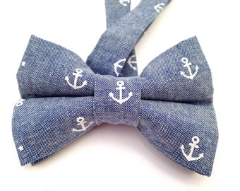 Nautical Bow Tie, Anchor Bow Tie, Denim Bow Tie, Blue Bow Tie, Bow Tie, Adjustable Bow Tie, Tie, Denim Tie, Denim Necktie, Anchor Necktie