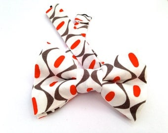 Coral bow tie, bow tie, white bow tie, coral and white tie, polkadot bow tie, gray bow tie, multicolor bow tie, coral and gray tie,