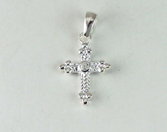 Sterling Silver Cross with CZ Center