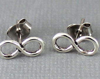 Sterling Silver Infinity Post Earrings, Infinity Earrings, Silver Post Earrings, Infinity Jewelry, Simple Post Earrings , Tiny Studs , EER01