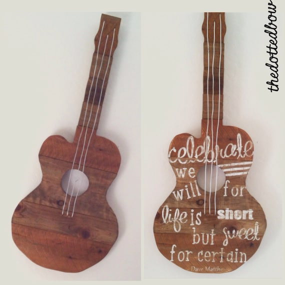 Wood Guitar Wall Decor : Items similar to pallet wood guitar wall art on etsy