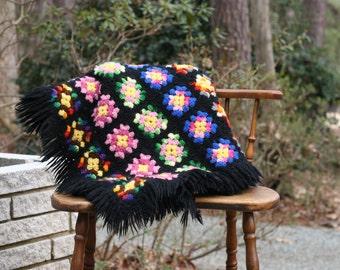 Small Vintage Black Granny Square Afghan / Multi-Colored Afghan / Small Boho Afghan / Black Afghan / Rainbow Afghan