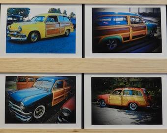 Blank photo cards, blank greeting card, greeting card, car greeting card, woodie greeting card, classic car greeting card, fine art, 8 cards