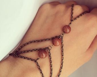 Aventurine Hand Chain Slave Bracelet, Elegant Stone Jewelry