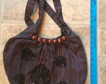 Hand-made Hand Bag / Purse from Bali Indonesia! Beaded sequins and Wood Beads #1