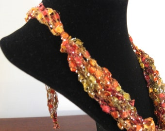 Red, Green, Yellow, Orange and Gold Fall Colors Trellis Necklace / Crochet Necklace Item No. M4