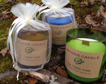 Un-Wine Recycled Wine Bottle Soy Candle with Wooden Wick