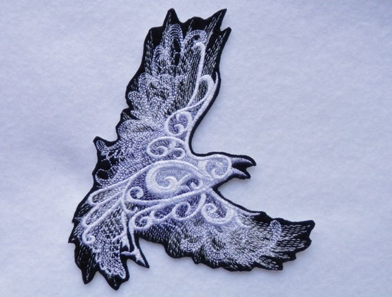 ghostly baroque raven bird iron on patch renaissance. Black Bedroom Furniture Sets. Home Design Ideas