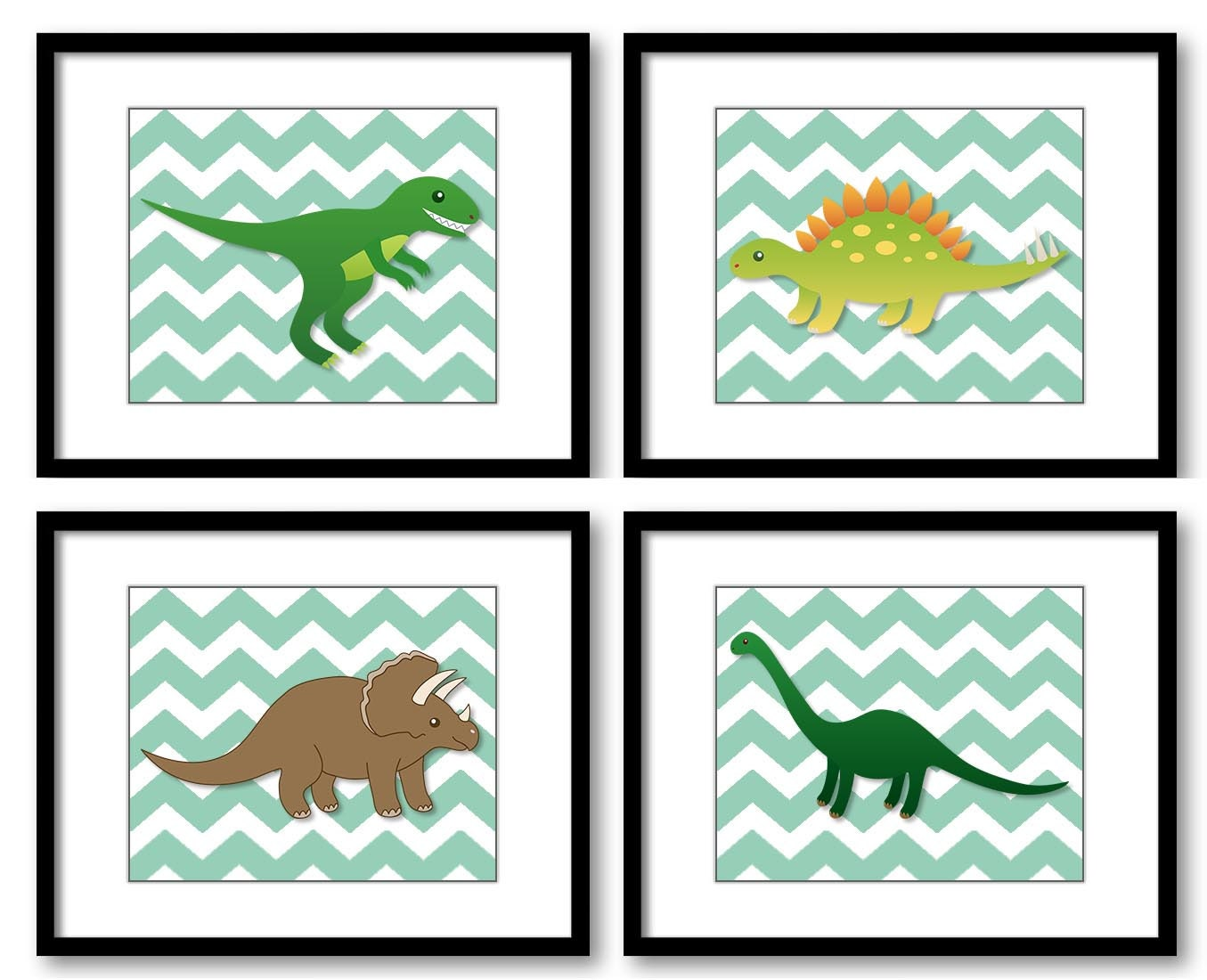Dinosaurs Grey Green Chevron Child Kids Children Art Boys Art Nursery Art Nursery Print Set of 4 Kid