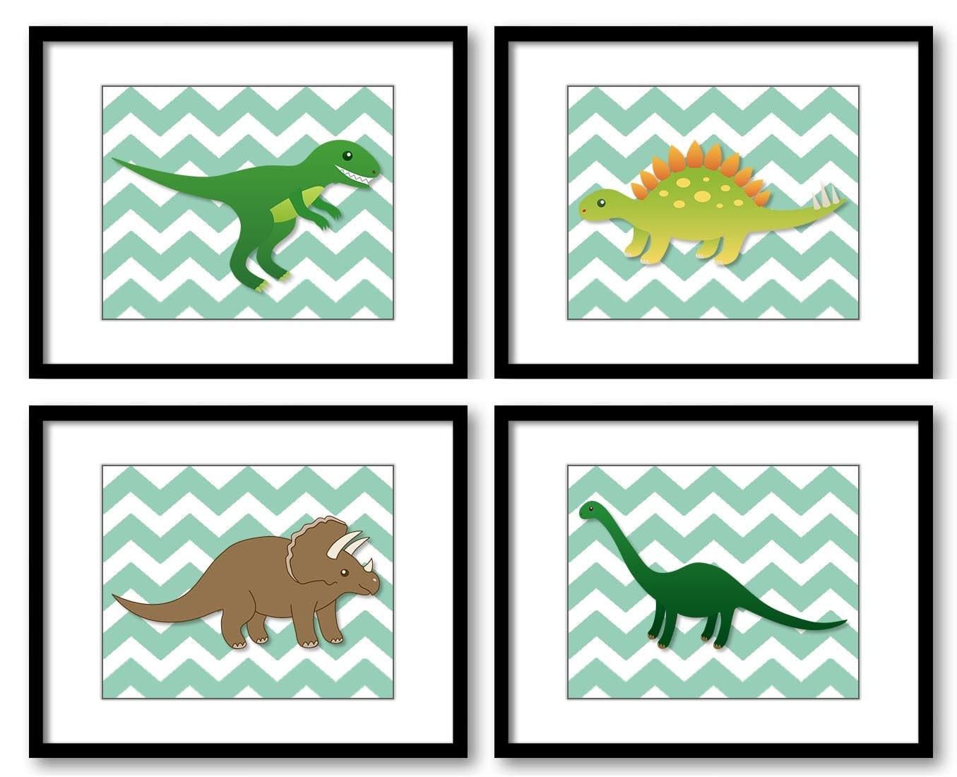 Dinosaurs Grey Green Chevron Child Kids Children Art Boys Art Nursery Art Nursery Print Set of 4 Kid