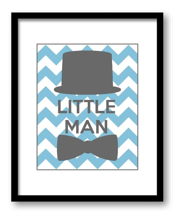 Blue Grey Little Man Nursery Art Nursery Print Tophat Bowtie Child Baby Art Print Boys Kids Room Wal