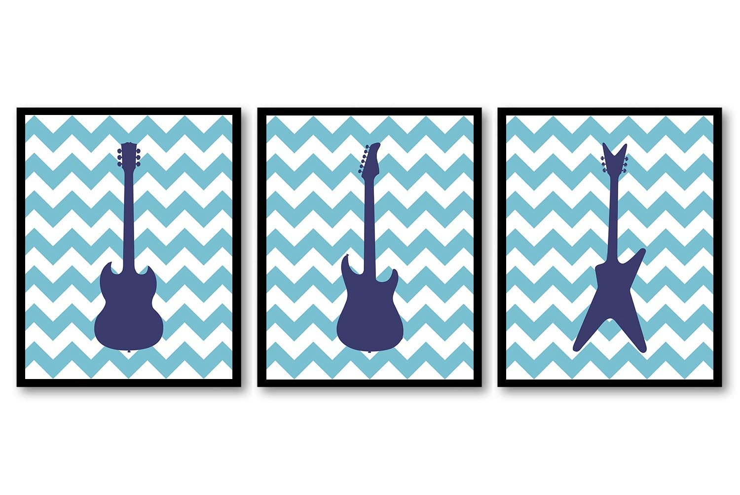 Electric Guitar Nursery Art Nursery Prints Set of 3 Prints Navy Blue Chevron Boys Art Nursery Print