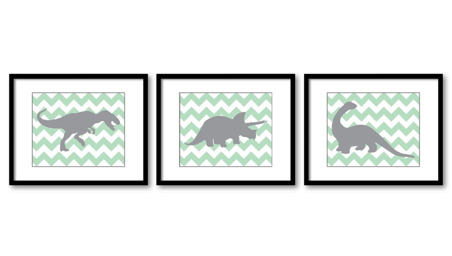 Dinosaur Nursery Art Dinosaurs Print Set of 3 Prints Mint Green Grey Chevron Tyrannosaurus Rex Trice